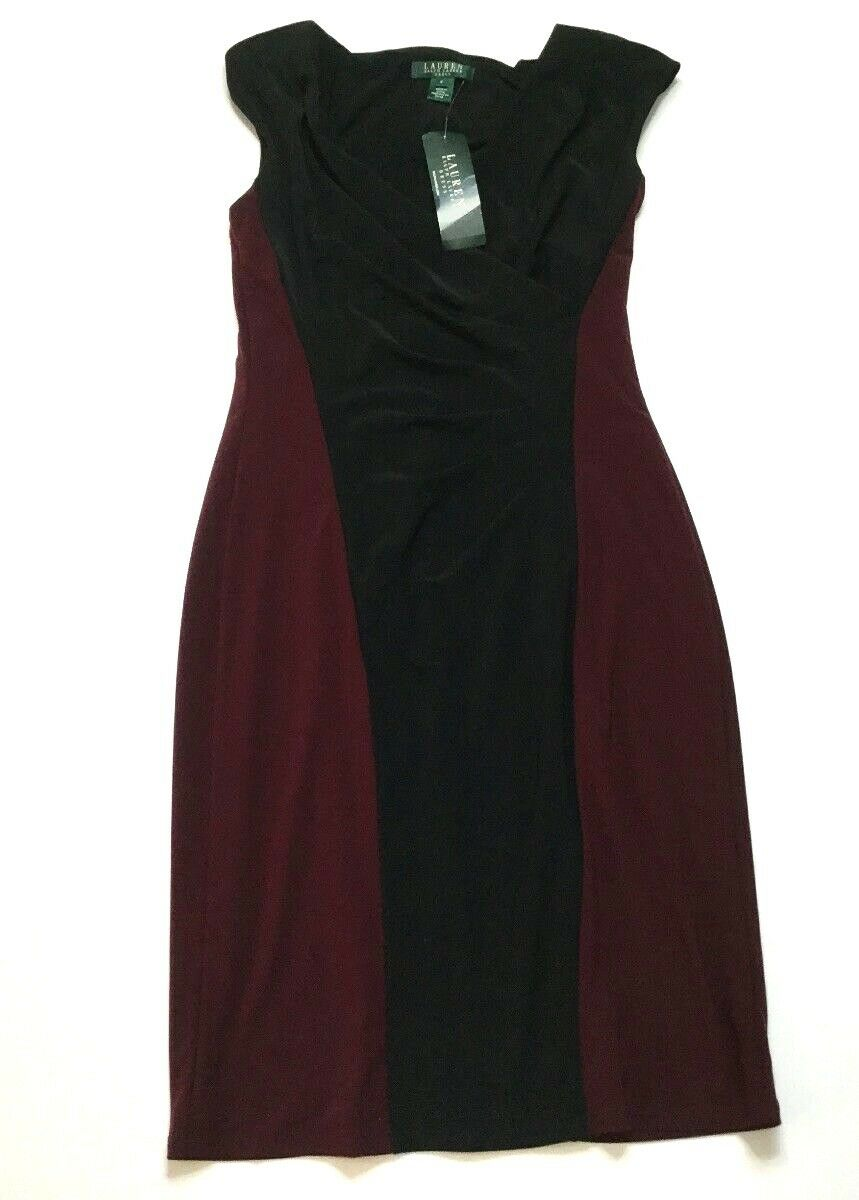 New Ralph Lauren Essentials schwarz Maroon Dress Größe 6 V-Neck Little schwarz Dress