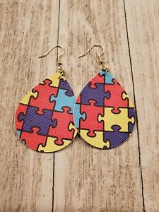 Autism Awareness faux leather earrings.