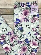 PLUS Size Purple Pink Rose Leggings Floral Flower Printed Curvy 10-18