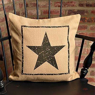 Country new Burlap decor STAR pillow nice accent pillow