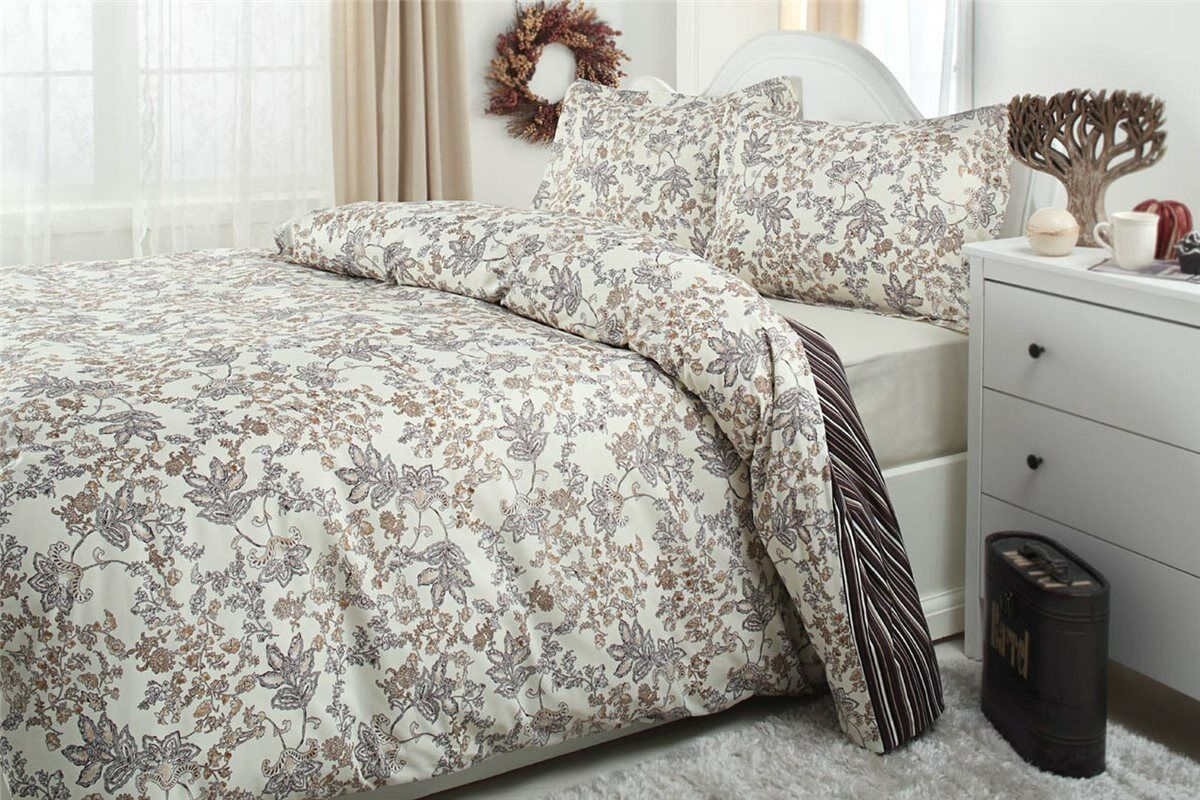 Bettwäsche 200x220 cm Bettgarnitur Bettbezug Baumwolle Kissen 4 tlg NATALIE