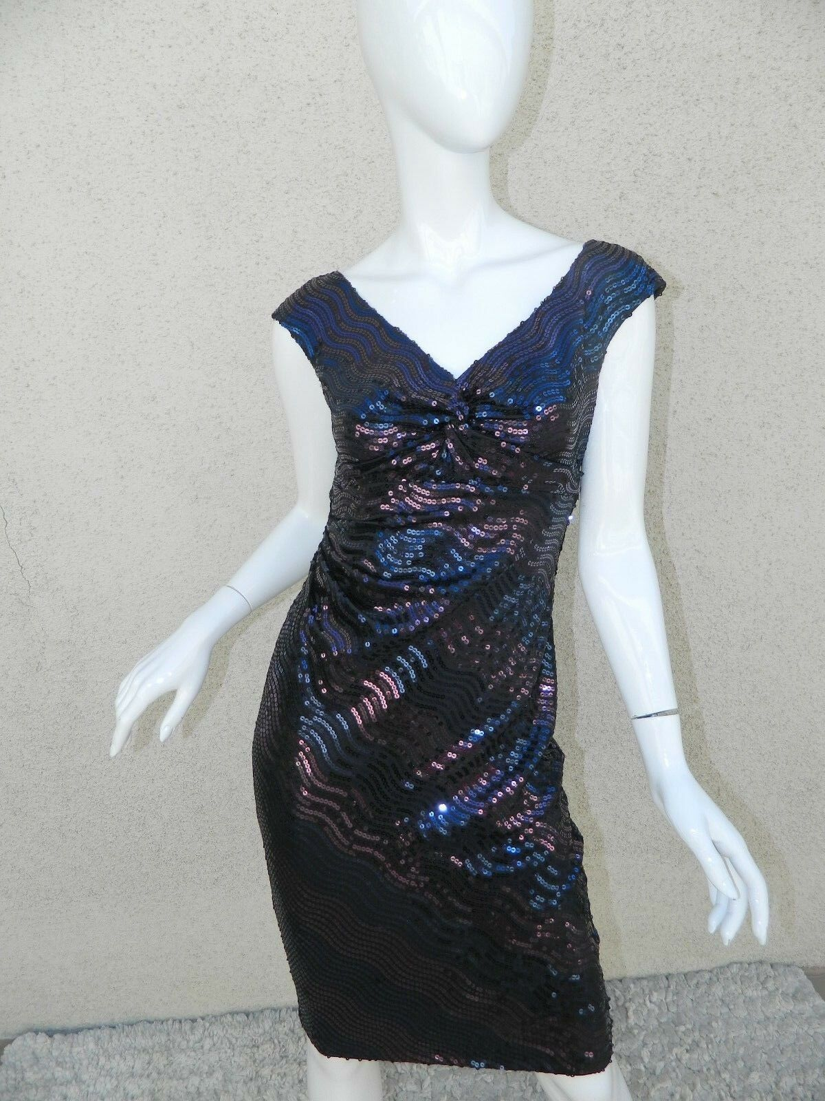 DAVID MEISTER  Dress Navy bluee Purple Iridescent    Sequins  Beaded Sheath  Sz 2 300e6a