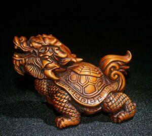 Japanese old boxwood hand carving dragon turtle longevity statue Netsuke decor