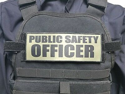 "3x8/"" PUBLIC SAFETY OFFICER OD Green Hook Back Plate Carrier Morale Patch Police"