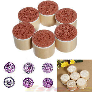 6pcs-Round-Wooden-Assorted-Retro-Vintage-Floral-Pattern-Rubber-Stamp-Scrapbook