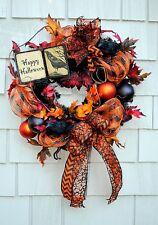Halloween Wreath Happy Halloween Sign Deco Mesh Bats Black Orange 22 inch