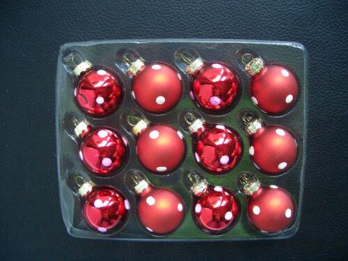 12 pièces rouge /& blanc pointillés 3cm bille de verre-set MINI NOËL * Gisela Graham