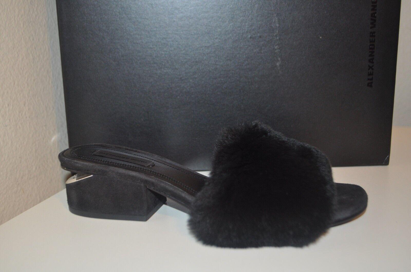 Alexander Wang Lou Lou Lou véritable fourrure de lapin SLIDE Mule sandale talon bottier bas et 36 Noir f682e8
