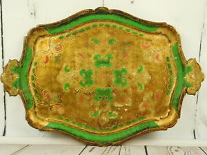 Italy-Hollywood-Regency-Florentine-Wood-Tole-Serving-Tray-Gold-Gilt-Green-16x13