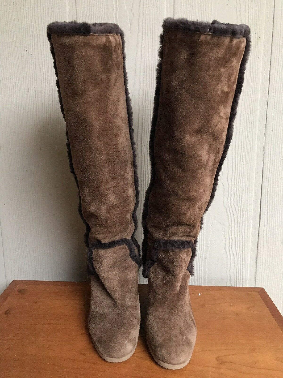 J.Crew Boots, Women's Size 8.5 Brown Suede, Fur Inside