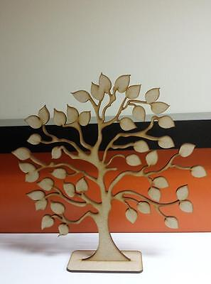 """Detachable Stand 10/"""" 2 x Wooden Mdf Family SWIRL Tree 25cm 4mm thick"""
