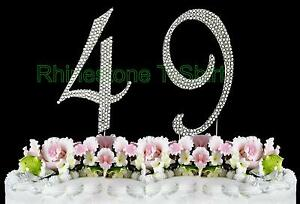 large rhinestone number 49 cake topper 49th birthday wedding party