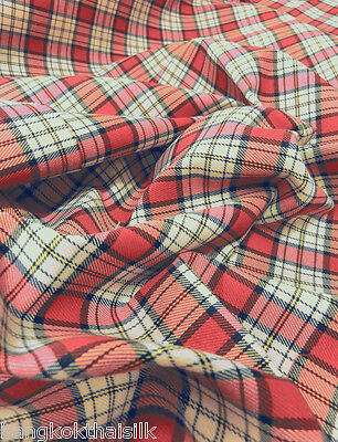"Red Cream Plaid Tartan Cotton Woven FABRIC 44""W DRAPE TABLECLOTH DRESS KILT"