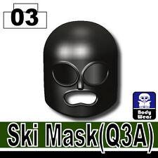 Black Ski Mask (W35) Army Balaclava compatible with toy brick minifigures Black