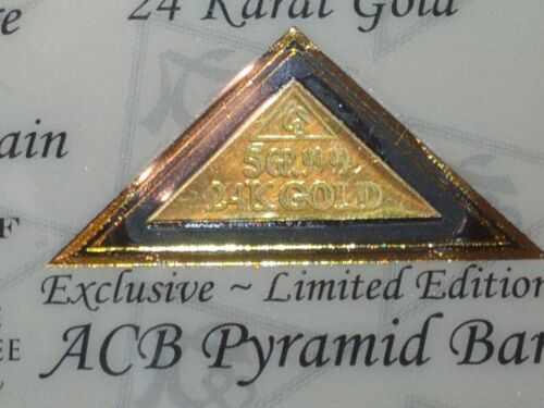 ACB GOLD PYRAMID 5GRAIN 24K SOLID BULLION MINTED BAR 99.99 FINE With COA