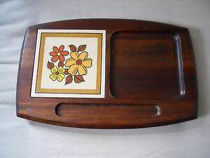 Vintage Wooden Cheese Cutting Board Tray With Ceramic Tile EBay - Ceramic tile cutting boards