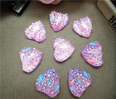 DIY 30PCS heart AB 12MM flatback Scrapbooking for art phone/wedding/crafts AQ