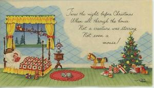 VINTAGE-CHRISTMAS-GIRL-ROCKING-HORSE-CAT-MOUSE-SANTA-STOCKING-GREETING-ART-CARD