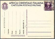 POSTA MILITARE AOI 1941 CARTOLINA SOPRAST. FRANCHIGIA A.O.I. c.15 viola FRESCA