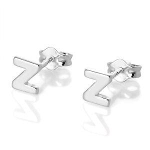 518b456af Image is loading 925-Real-Sterling-Silver-Alphabet-Letter-Stud-Earrings-