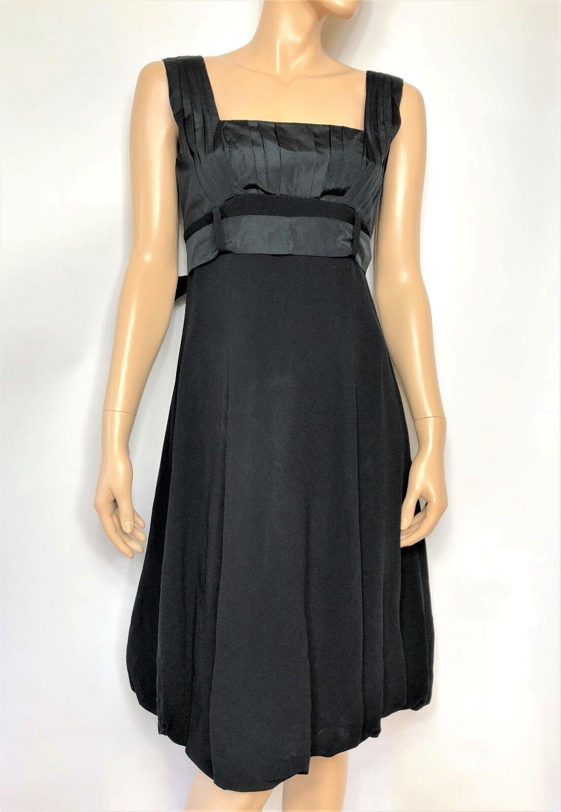 Italian brand vintage schwarz crepe dress with straps and belt - Größe 44 Italian