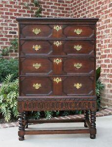 Image Is Loading Antique English Oak William Amp Mary Jacobean Highboy