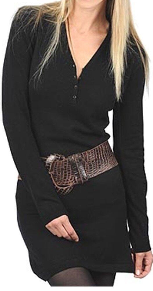 Balldiri 100% Cashmere Damen Kleid V-Ausschnitt  2-fädig schwarz M