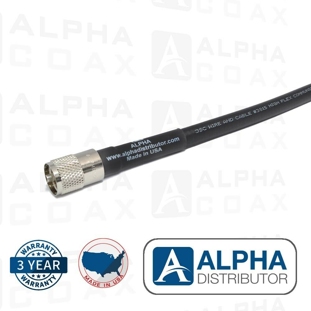 ALPHA 100 FT - LMR400 FLEXIBLE LOW LOSS COAX CABLE WITH AMPHENOL'S PL-259. Buy it now for 144.95