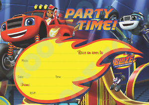 81-BLAZE-AND-THE-MONSTER-MACHINES-Pack-of-10-kids-birthday-party-INVITATIONS