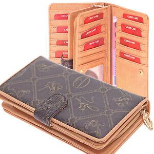 d3c0c46adfcb3 Das Bild wird geladen Trendige-Damen-Geldboerse-Portemonnaie -Geldbeutel-viele-Kartenfaecher-lang-