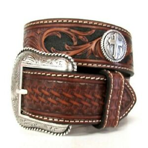 Nocona-Brown-Tooled-LEATHER-Silver-Buckle-CROSS-Conch-MAN-WESTERN-BELT-N24840-16