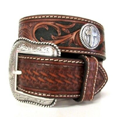 Nocona Western Mens Belt Leather Tooled Weave Cross Concho Brown N2484091