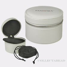 Authentic Pandora White Circle Leather Travel Box w/ Pouch *NO JEWELRY INCLUDED*