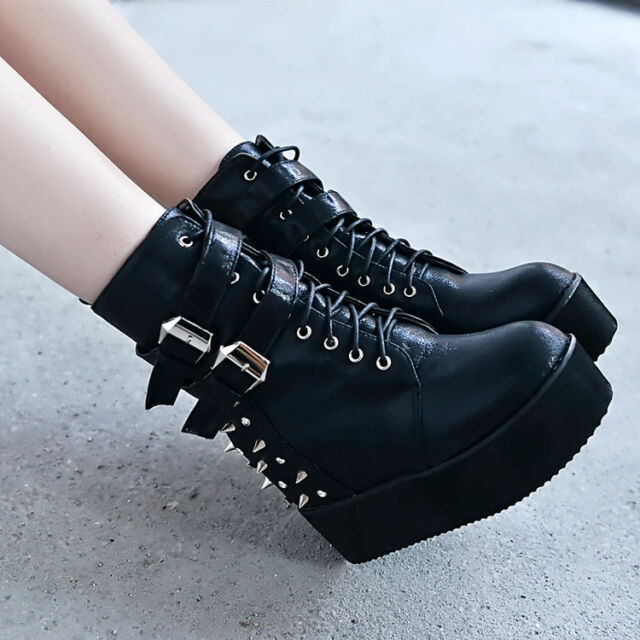 Womens Punk Rivet Spiked Buckle Strap Platform Wedge High Heel Ankle Boots Shoes