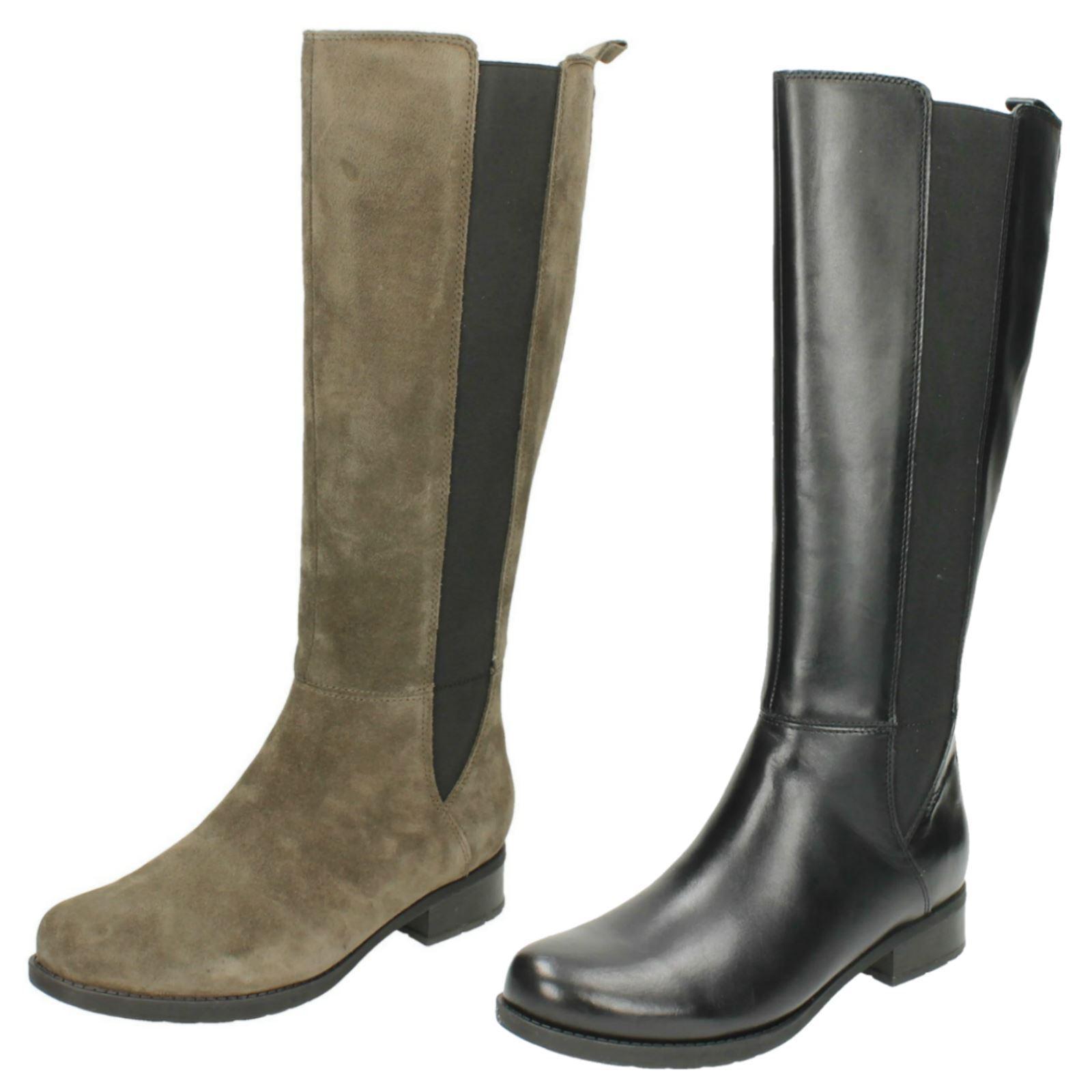 Femmes clarks verlie gail cuir noir ou gris en daim décontracté bottes hautes