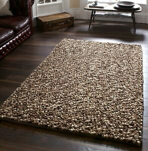 LARGE-THICK-BEIGE-BROWN-MIX-PEBBLES-BOBBLES-BOBBLY-100-WOOL-RUG-CLEARANCE