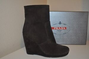 ac0772950a6 New PRADA Sport Brown Suede Wedge Mid Ankle Boot Women s Bootie 37.5 ...
