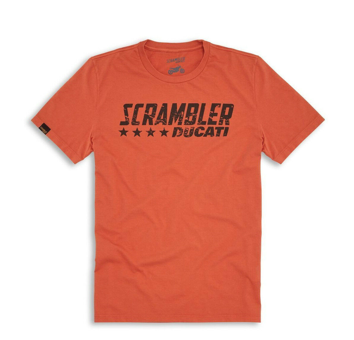Ducati Scrambler Arancione Flip T-Shirt Manica Corta Arancione Nuovo