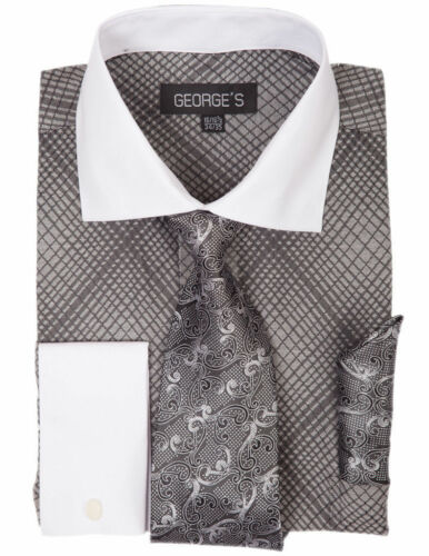 New Men/'s Mini Plaid //Check Design Dress Shirt French Cuff With Tie/&Hanky AH624