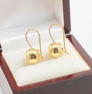 Vintage-18k-Gold-Filled-Filigree-Swirl-Spiral-12-mm-Large-Ball-Drop-Earrings