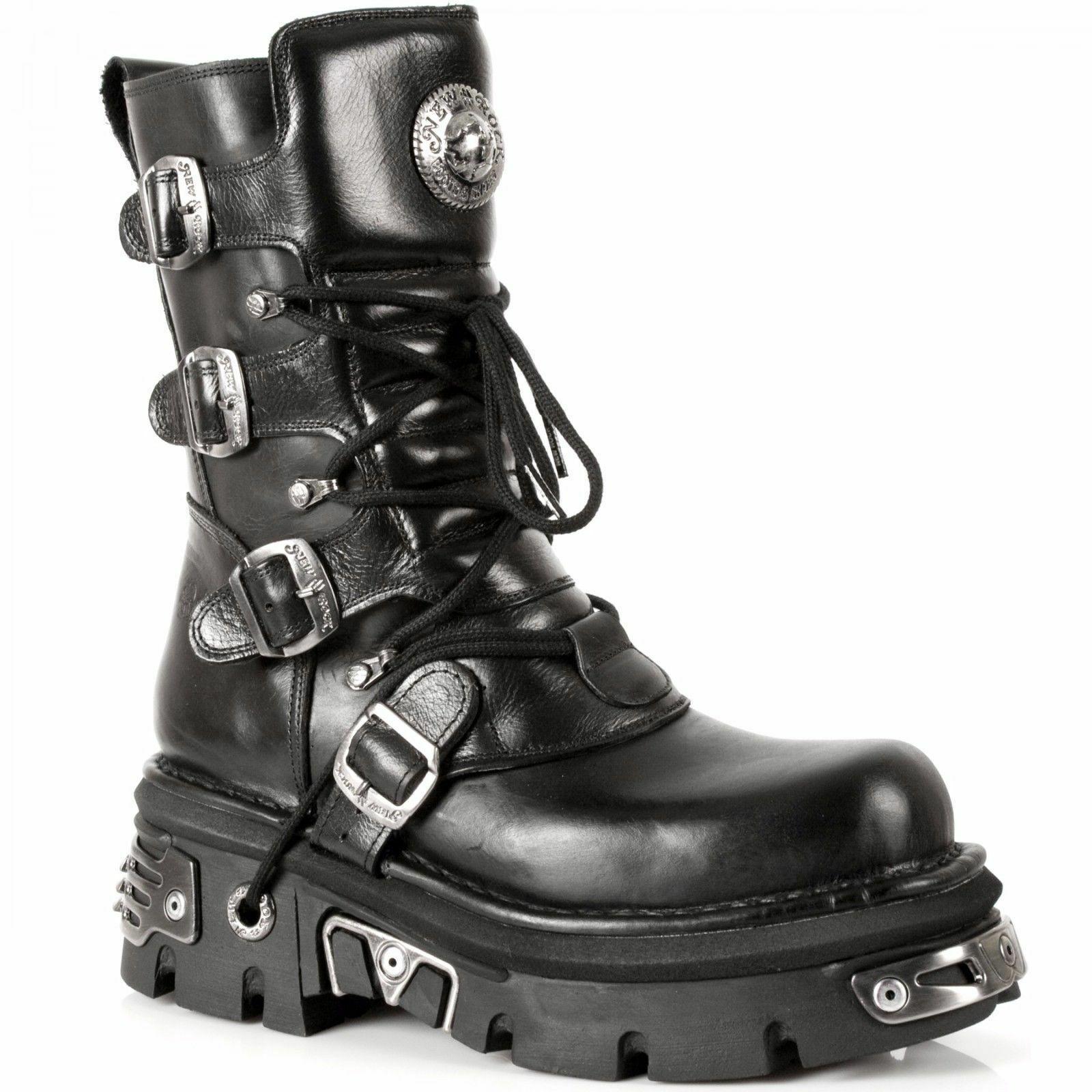NEWROCK Homme Cuir NEW ROCK 373-S4 noir métallisé Goth Emo Punk Biker bottes