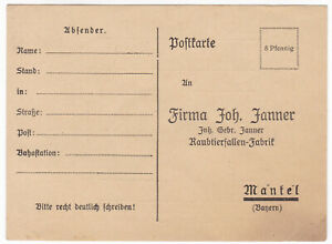 Zu 1900 Raubtierfallen Postkarte Bayern GebrUm Mantel Details JohJanner Fabrik OkiPZuXT