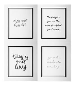 Image Is Loading Set 0f 4 Inspirational Quotes A4 Prints Gallery