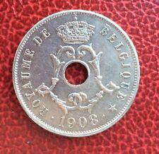 Belgique - Léopold II -  Magnifique monnaie de 25 Centimes 1908 FR
