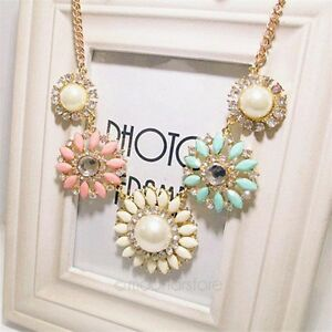 Crystal-Flower-Bib-Statement-Necklace-Chunky-Bubble-Choker-Collar-Pendant-Chain