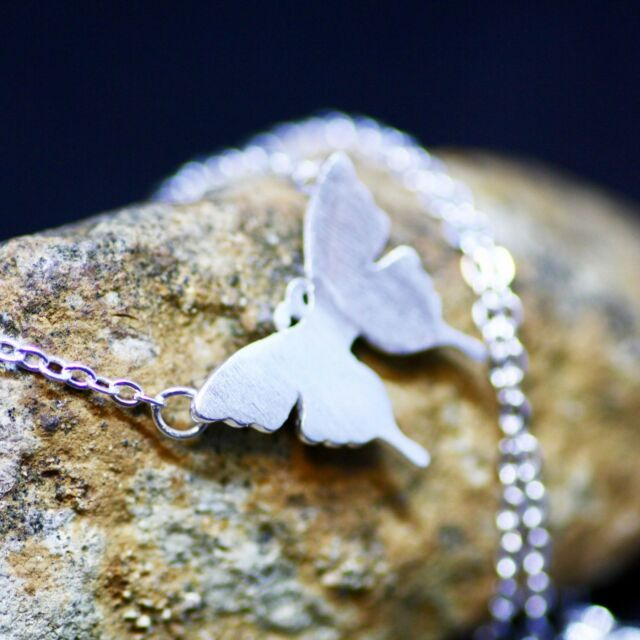 Pretty Butterfly Necklace Sterling Silver 925 , Gift for Girl , Gift for Teen