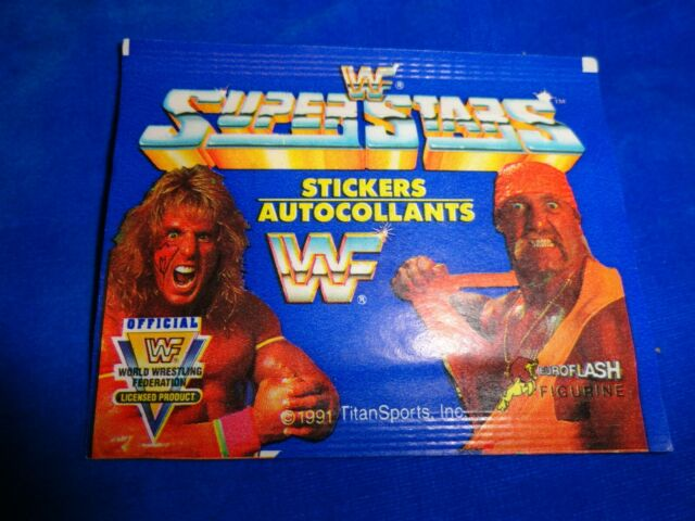 1991 WWF Superstars EuroFlash Wrestling Stickers Pack as pictured