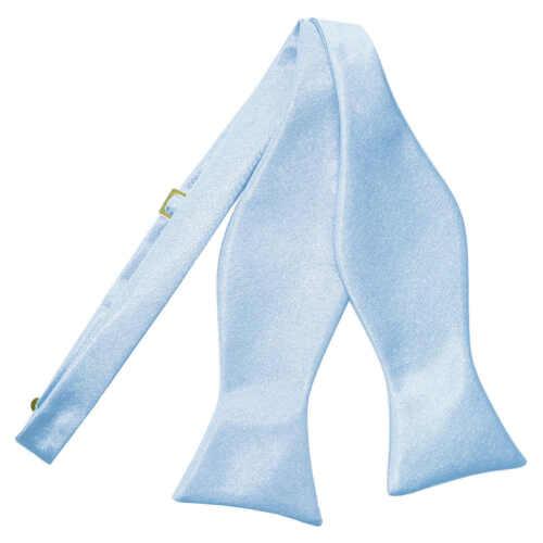 DQT Satin Plain Solid Baby Blue Formal Classic Mens Self Tie Bow Tie