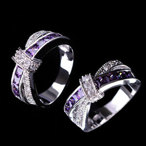 Purple-Amethyst-amp-CZ-Criss-Cross-Ring-Band-Black-Gold-Filled-Jewelry-Size-6-10