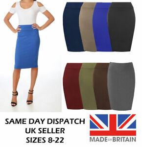 Made in the UK Women Plain Pencil Skirt
